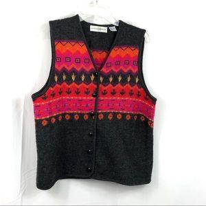 Marisa Christina Wool Bright Patterned Vest Size L